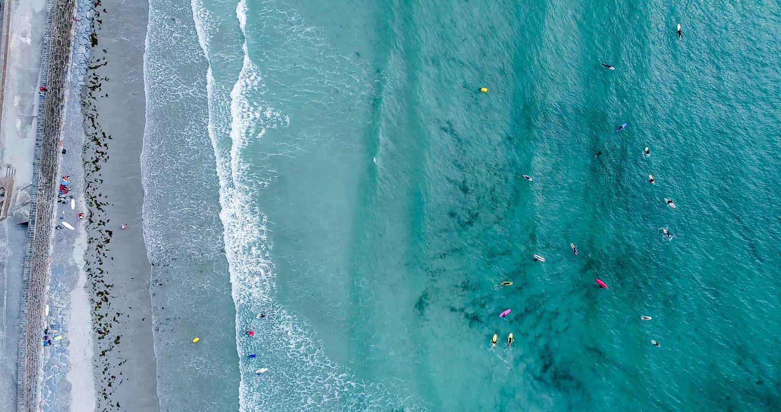 Surfing in Vazon Bay