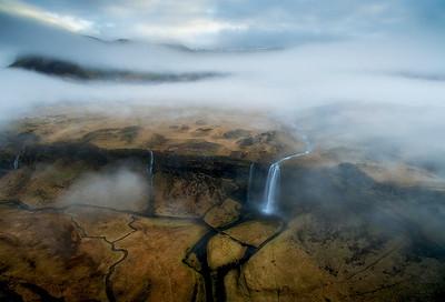 Flight High Above Seljalandfoss Waterfall