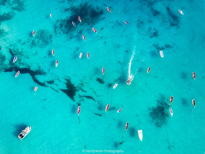 Clear ocean with boats