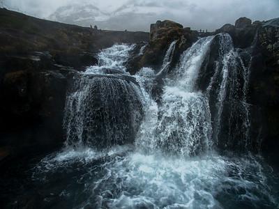 Kirkjufellfoss Waterfall Closeup by Drone