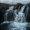 Kirkjufellfoss Waterfall Closeup by Drone