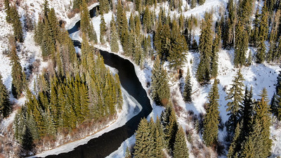 Aerial view of the Blue River, near Silverthorne, Colorado, on December 22, 2019. Photo by Mitch Tobin, The Water Desk.