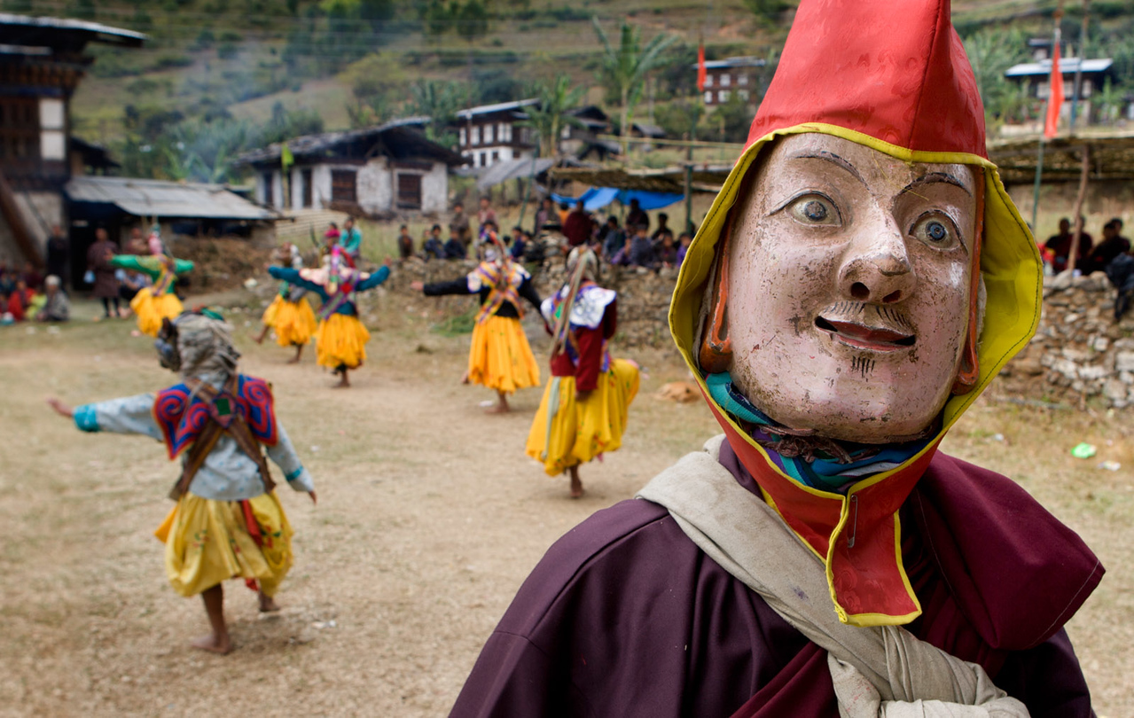 Tsechu (mask dance) in Saling village.
