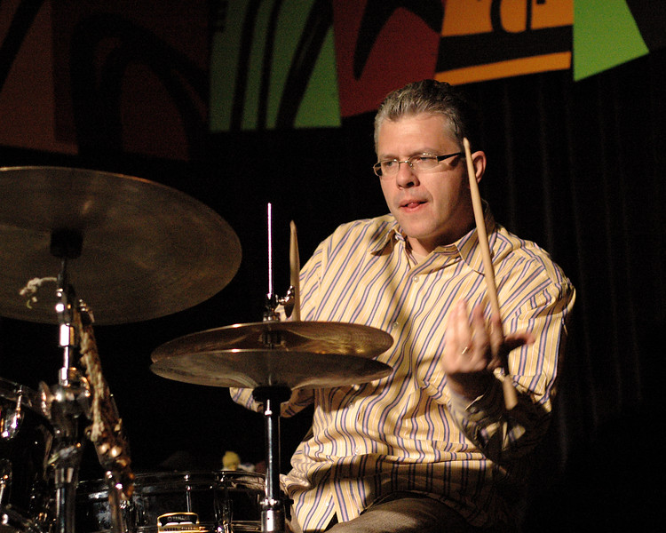 Matt Wilson performs with the Denny Zeitlin Trio at the Monterey Jazz Festival on September 18, 2005.