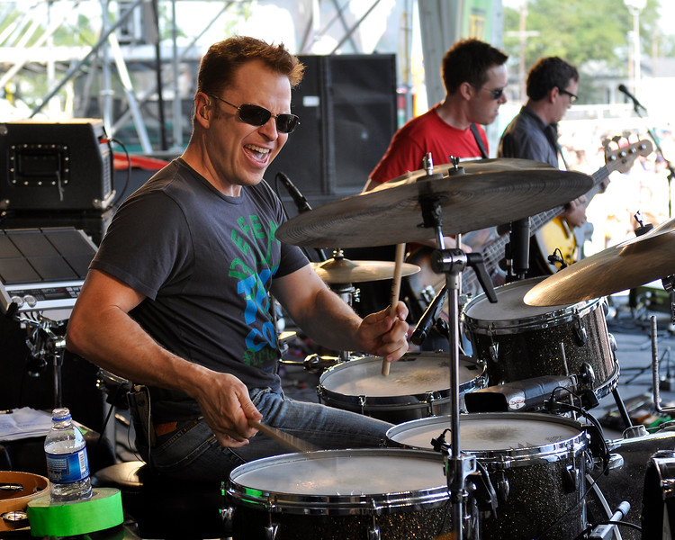 Stanton Moore performing with Galactic at the New Orleans Jazz & Heritage Festival on April 25, 2009.