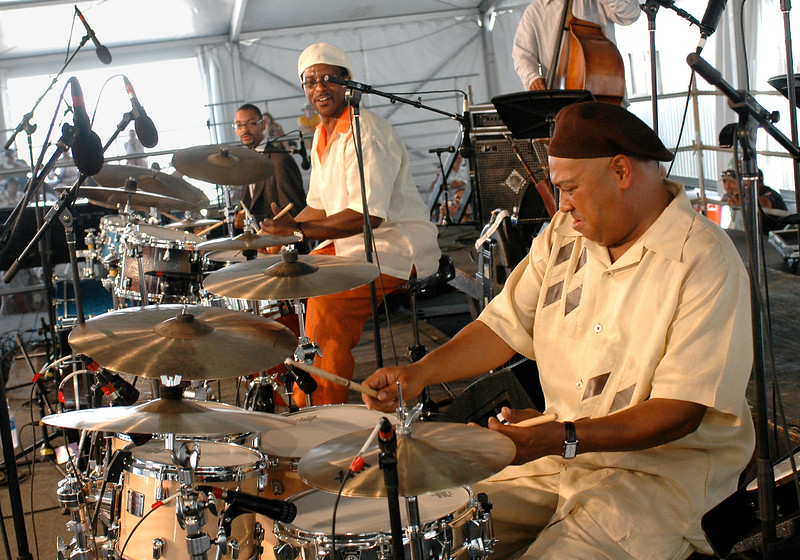 Jason Marsalis, Herlin Riley and Shannon Powell performing live on stage as part of the Max Roach Tribute at the New Orleans Jazz & Heritage Festival on May 4, 2008.