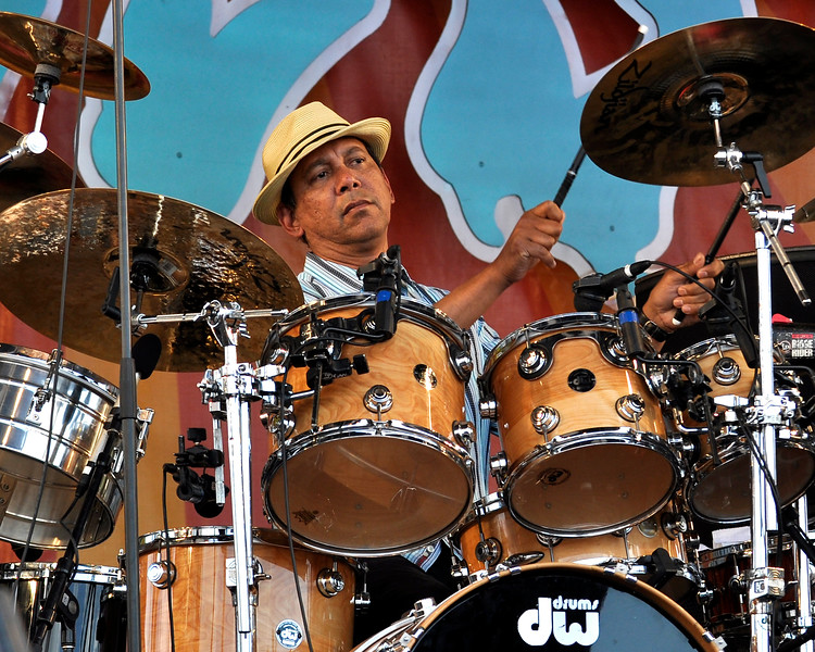 Ricky Fataar performing with Bonnie Raitt at the New Orleans Jazz & Heritage Festival on May 1, 2009.
