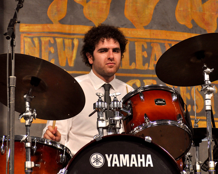 Homer Steinweiss performing with Sharon Jones & the Dap Kings at the New Orleans Jazz & Heritage Festival on April 26, 2009.