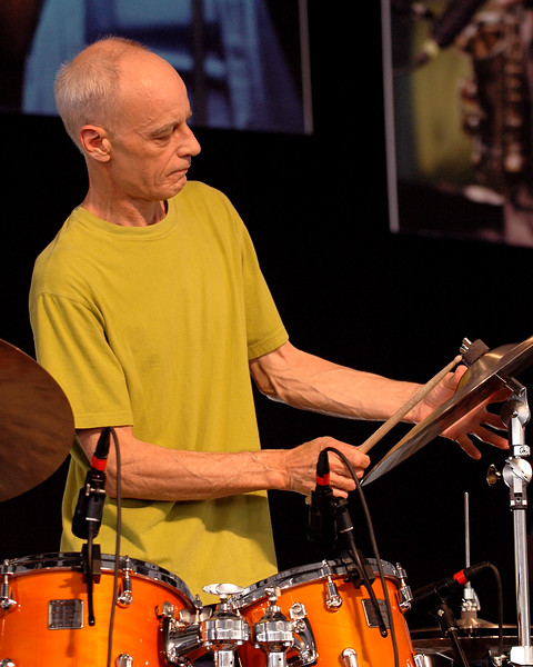 Drummer Johnny Vidacovich performs with Astral Project at the New Orleans Jazz & Heritage Festival on April 27, 2007.