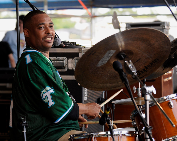 "Russell Batiste performing with Walter ""Wolfman"" Washington and Joe Krown at the New Orleans Jazz & Heritage Festival on April 25, 2009."