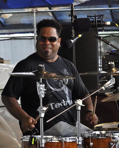 NEW ORLEANS, LA-APRIL 24: Eric Bolivar performs with Bonerama on the Gentilly Stage at the New Orleans Jazz & Heritage Festival on April 24, 2010. (Photo by Clayton Call/Redferns)