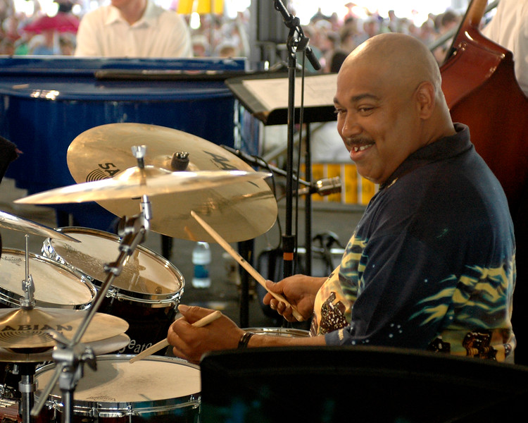 Shannon Powell performs with Clive Wilson's New Orleans Serenaders at the New Orleans Jazz & Heritage Festival on May 5, 2007.