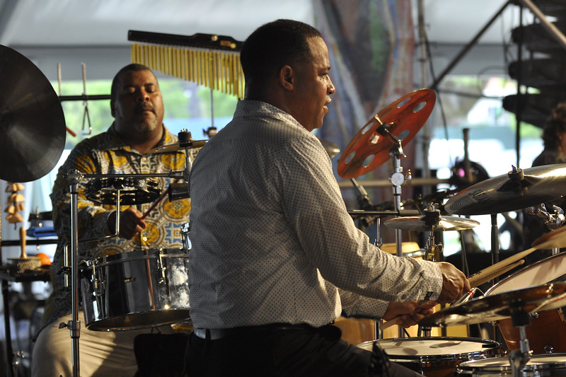 NEW ORLEANS, LA-MAY 1: (L-R): Percussionist Reggie Toussaint and drummer Herman LeBeaux perform with Allen Toussaint's Jazzity Project in the Jazz Tent at the New Orleans Jazz & Heritage Festival on May 1, 2010. (Photo by Clayton Call/Redferns)