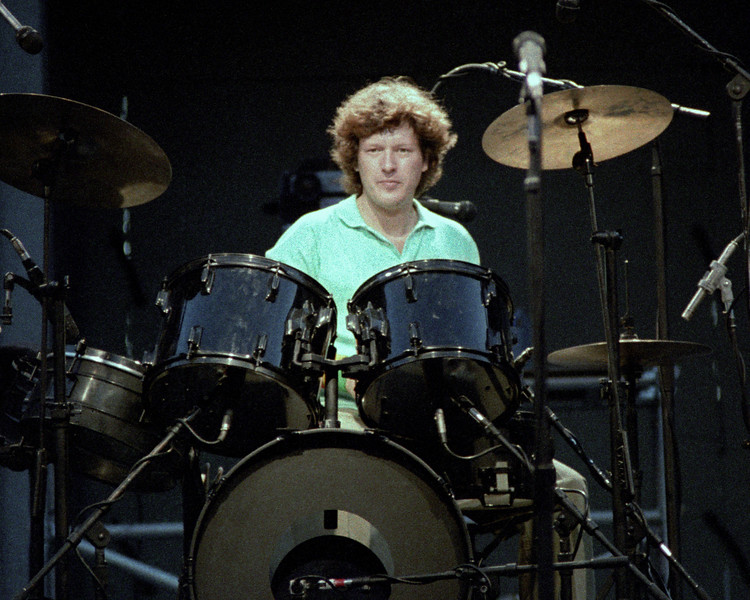 Chris Frantz performs with the Talking Heads at the Greek Theater in Berkeley on September 4, 1983.