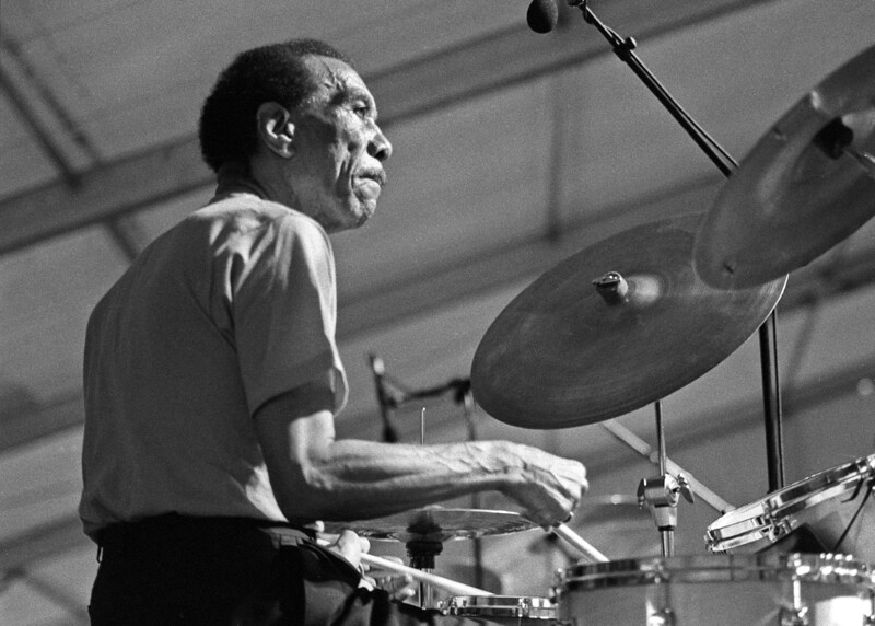 Earl Palmer performing live on stage as part of the Ed Blackwell Tribute at the New Orleans Jazz & Heritage Festival on April 23, 1994.