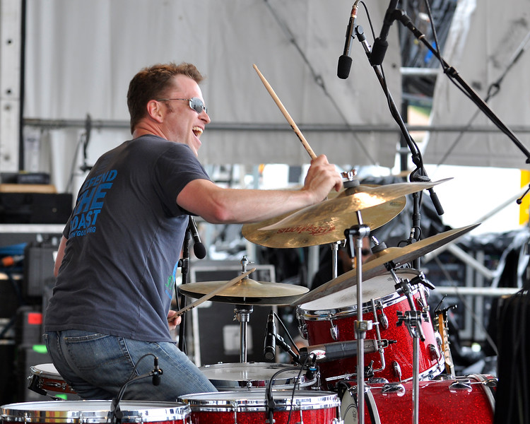 Stanton Moore performing with Anders Osborne at the New Orleans Jazz & Heritage Festival on April 30, 2009.