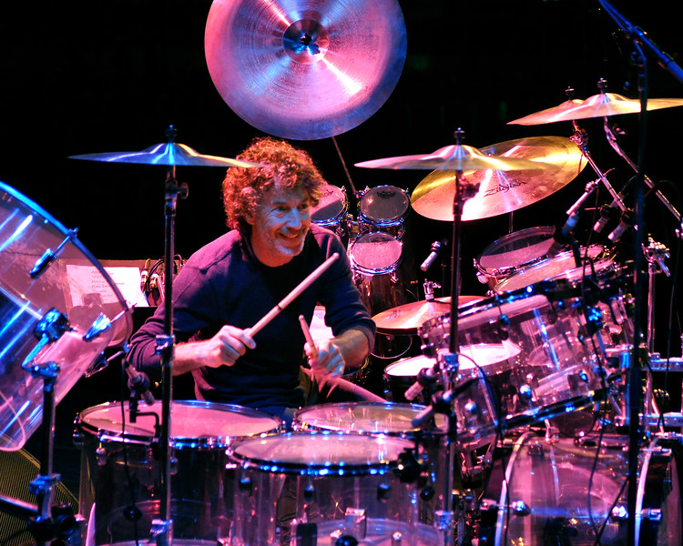 MONTEREY, CA-SEPTEMBER 16: Simon Phillips performs with Hiromi at the Monterey Jazz Festival in Monterey, CA on September 16, 2011. (Photo by Clayton Call/Redferns)