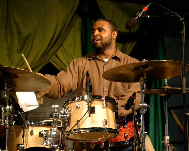Kendrick Scott plays with trumpeter Terence Blanchard's group in the Jazz Tent at Jazzfest 2006.