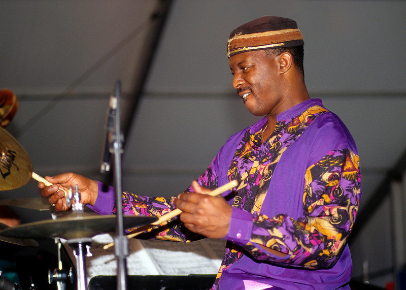 Herlin Riley performing with Charles Neville's Jazz Ensemble in the Jazz Tent at the New Orleans Jazz & Heritage Festival on April 25, 1998.