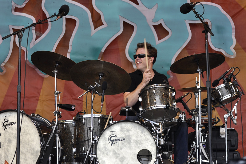 NEW ORLEANS, LA-MAY 1: Stanton Moore performs with Anders Osborne on the Acura Stage at the New Orleans Jazz & Heritage Festival on May 1, 2010. (Photo by Clayton Call/Redferns)