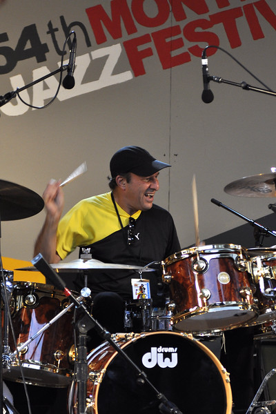 MONTEREY, CA-SEPTEMBER 17: Greg Errico performs at a Sly Stone tribute with Ivan Neville's Dumpstaphunk at the Monterey Jazz Festival in Monterey, CA on September 17, 2011. (Photo by Clayton Call/Redferns)