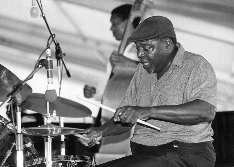 Smokey Johnson plays with the Fred Kemp Quartet at the New Orleans Jazz & Heritage Festival on April 24, 1992.