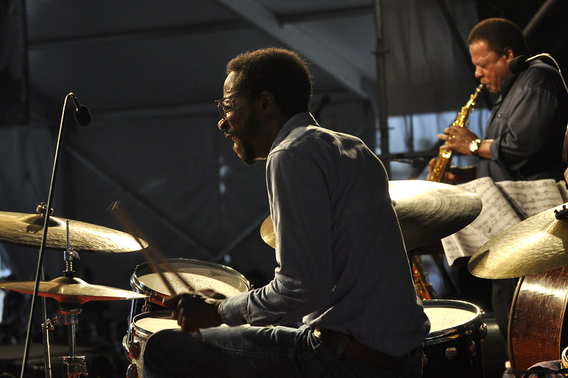 NEW ORLEANS, LA-MAY 2: Brian Blade performs with Wayne Shorter in the Jazz Tent at the New Orleans Jazz & Heritage Festival on May 2, 2010. (Photo by Clayton Call/Redferns)