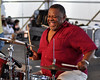 Bunchy Johnson performing with trumpeter Jeremy Davenport at the New Orleans Jazz & Heritage Festival on May 3, 2009.