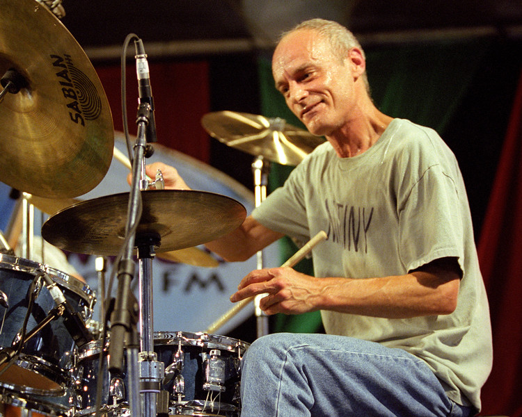 Johnny Vidacovich performing live on stage with Astral Project at the New Orleans Jazz & Heritage Festival on May 5, 2001.