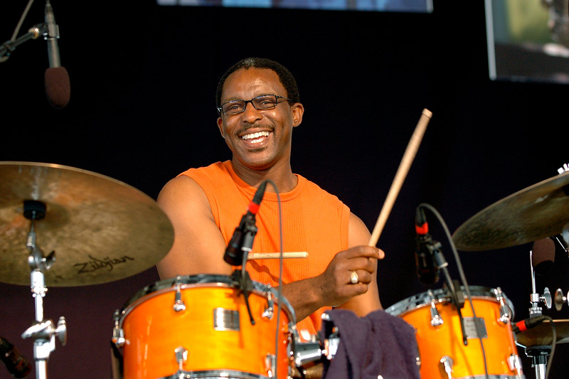Herlin Riley performs with Phillip Manuel at the New Orleans Jazz & Heritage Festival on April 27, 2007.
