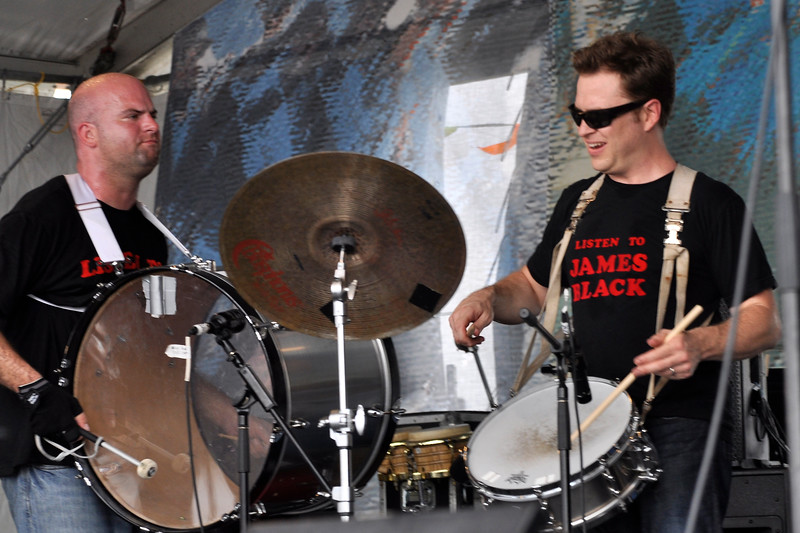 NEW ORLEANS, LA-APRIL 24: (L-R): Kevin O'Day and Stanton Moore perform at the New Orleans Jazz & Heritage Festival on April 24, 2010. (Photo by Clayton Call/Redferns)