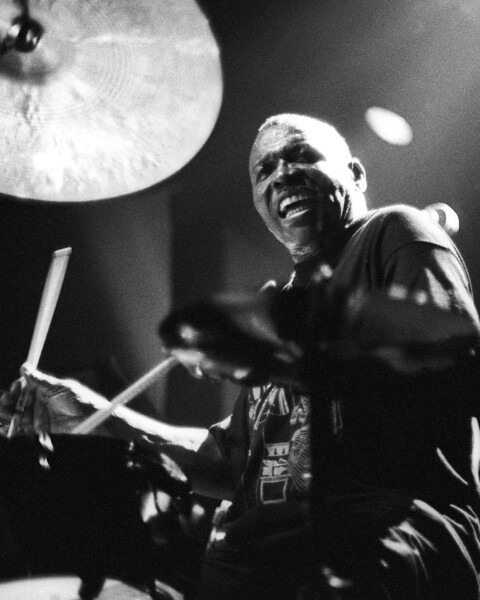 Elvin Jones performing live on stage with Wynton Marsalis at Kimball's East in Emeryville, CA on December 10, 1992.