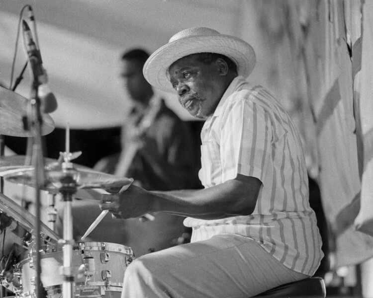 Smokey Johnson plays with the Fred Kemp Quartet at the New Orleans Jazz & Heritage Festival on May 1, 1993.