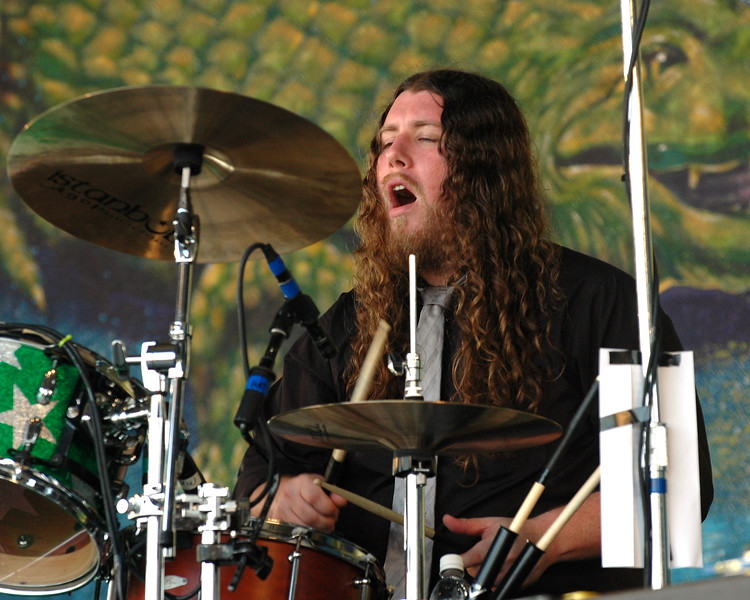 NEW ORLEANS, LA-APRIL 24: Patrick Hallahan performs with My Morning Jacket on the Gentilly Stage at the New Orleans Jazz & Heritage Festival on April 25, 2010. (Photo by Clayton Call/Redferns)