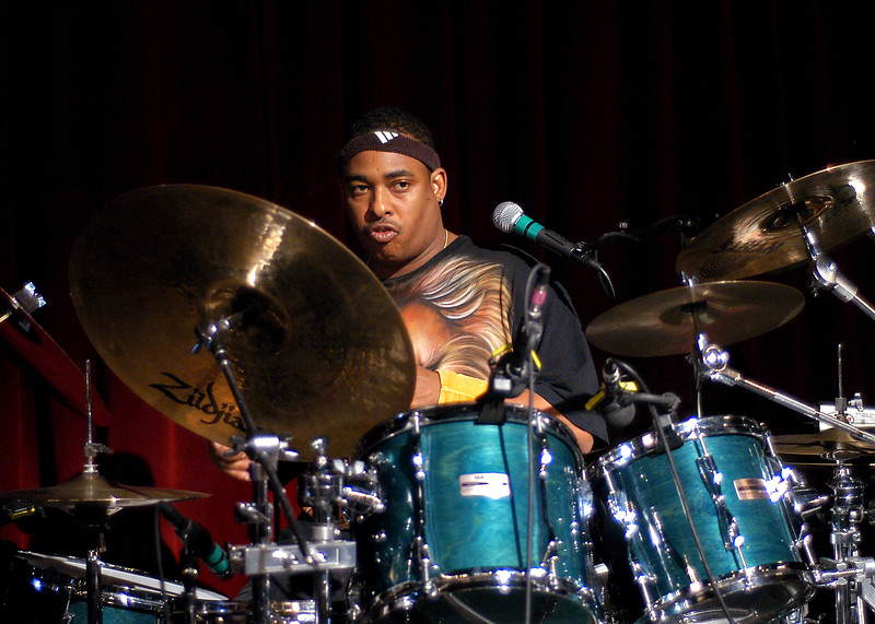 Russell Batiste, Jr. performing with the Funky Meters at the Fillmore Auditorium on July 11, 2004