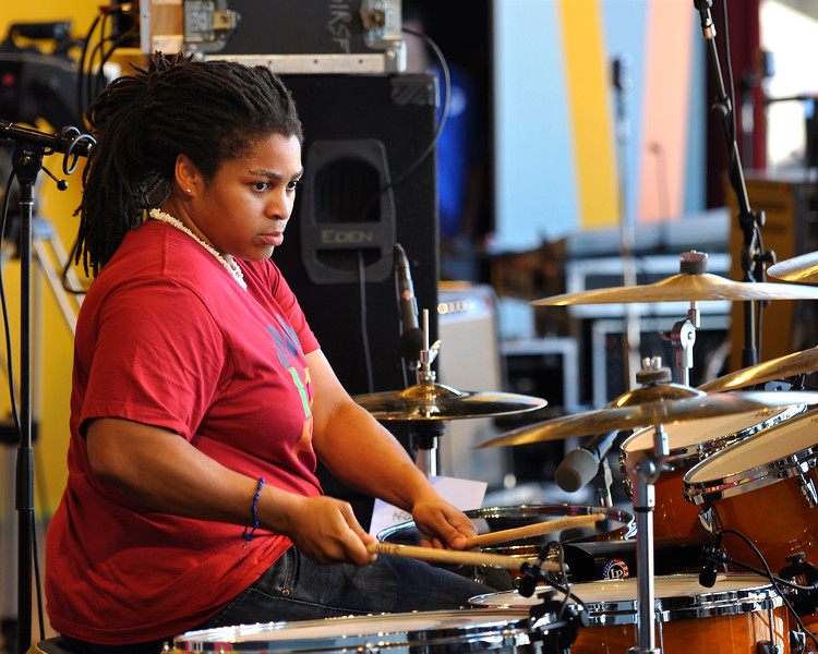 MONTEREY, CA-SEPTEMBER 17: Nikkie Glaspie performs with Ivan Neville's Dumpstaphunk at the Monterey Jazz Festival in Monterey, CA on September 17, 2011. (Photo by Clayton Call/Redferns)