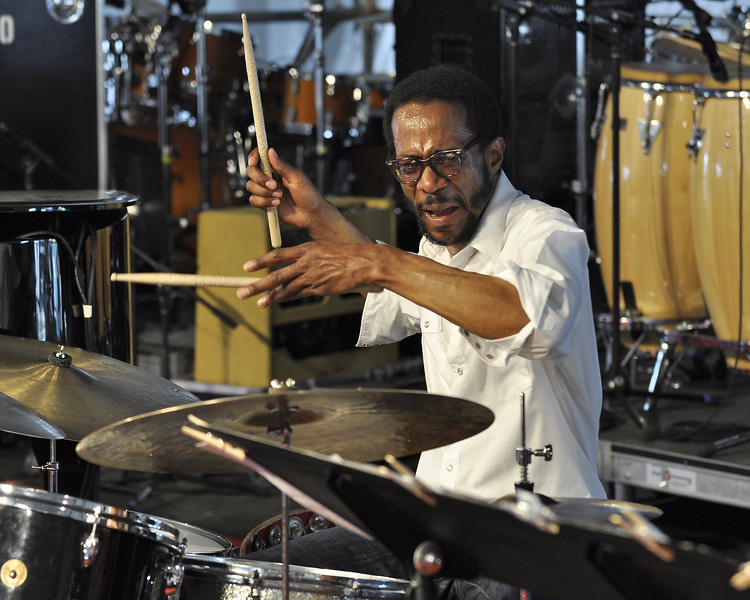 NEW ORLEANS, LA-MAY 1: Brian Blade performs with Brian Blade & the Fellowshop Band in the Jazz Tent at the New Orleans Jazz & Heritage Festival on May 1, 2010. (Photo by Clayton Call/Redferns)
