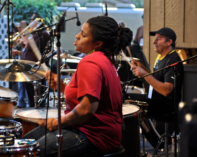 MONTEREY, CA-SEPTEMBER 17: Greg Errico performs at a Sly Stone tribute with Ivan Neville's Dumpstaphunk at the Monterey Jazz Festival in Monterey, CA on September 17, 2011. (L-R): Nikkie Glaspie, Greg Errico. (Photo by Clayton Call/Redferns)