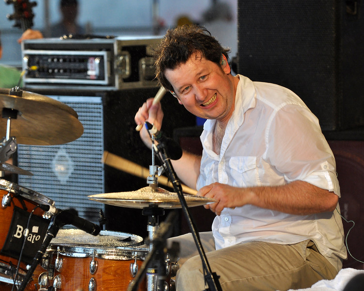 NEW ORLEANS, LA-APRIL 23: Doug Belote performs with the Jon Cleary trio at the New Orleans Jazz & Heritage Festival on April 23, 2010. (Photo by Clayton Call/Redferns)