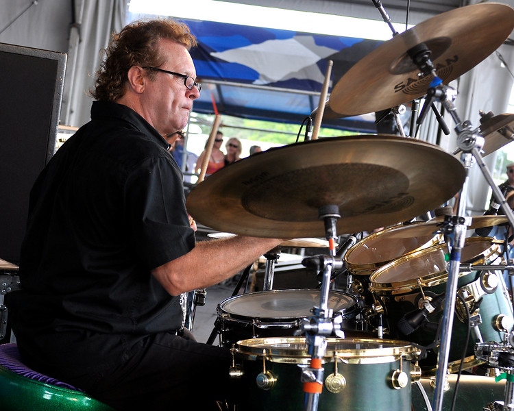 Tony Braunagel performs with the Robert Cray Band at the New Orleans Jazz & Heritage Festival on April 26, 2009.