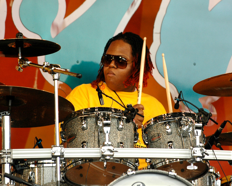 Stanley Randolph performing live on stage with Stevie Wonder at the New Orleans Jazz & Heritage Festival on May 2, 2008.