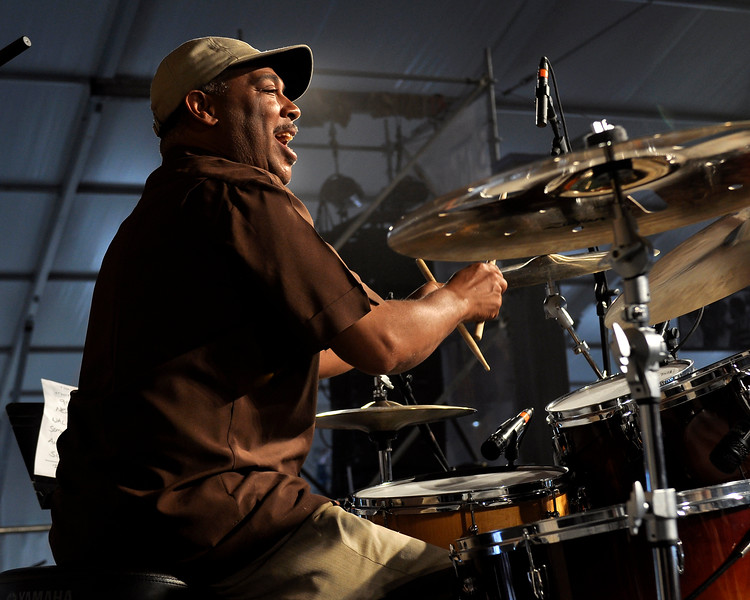 Shannon Powell performing with John Scofield and the Piety St. Band at the New Orleans Jazz & Heritage Festival on May 1, 2009.