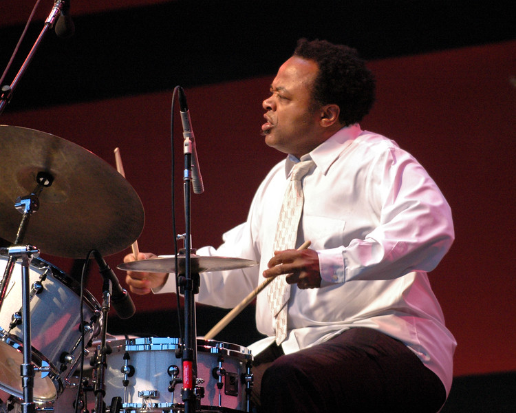 """Jeff """"Tain"""" Watts performs with the Branford Marsalis Quartet at the Monterey Jazz Festival on September 18, 2005."""