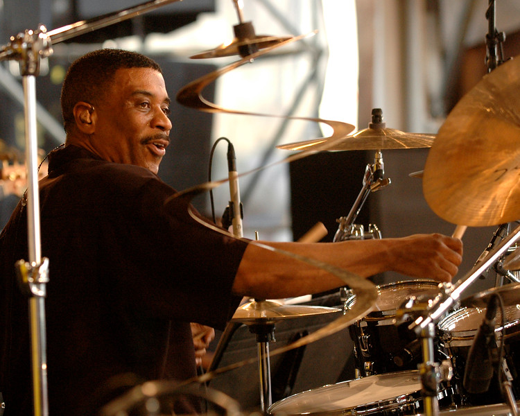 Drummer Ricky Lawson perfoms with George Benson at the New Orleans Jazz & Heritage Festival on May 4, 2007.