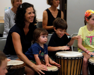 Drumming at the Bennington Free Library. 081116