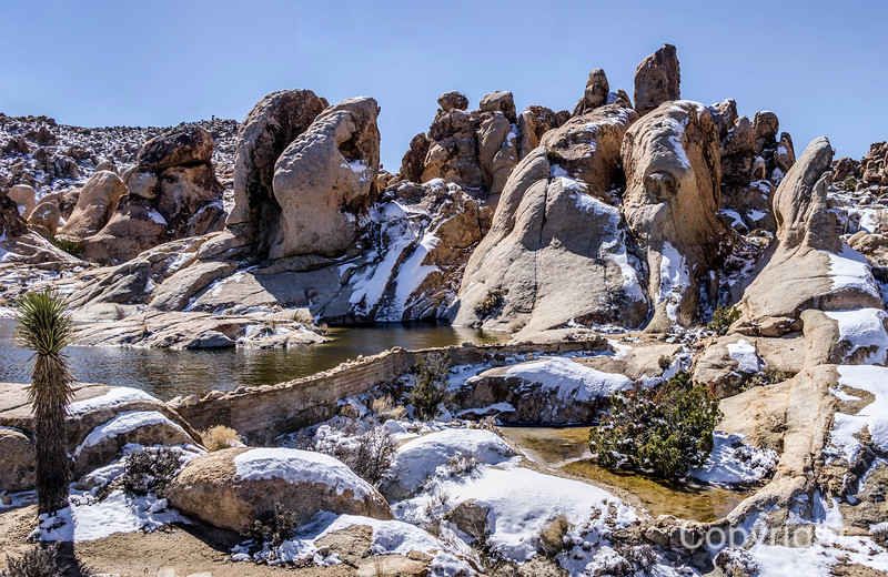 Water Tank in Joshua Tree National Park. with snow