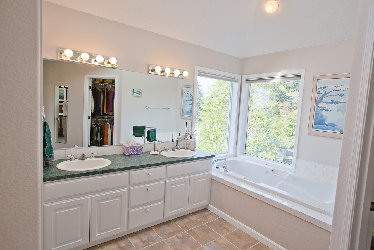 View of the master bathroom including valley views and recently upgraded tile floors. A walk in closet is to the right and a walk in bathroom and shower are to the left. A jetted tub overlooks the view. Natural daylight enters from a large skylight overhead.