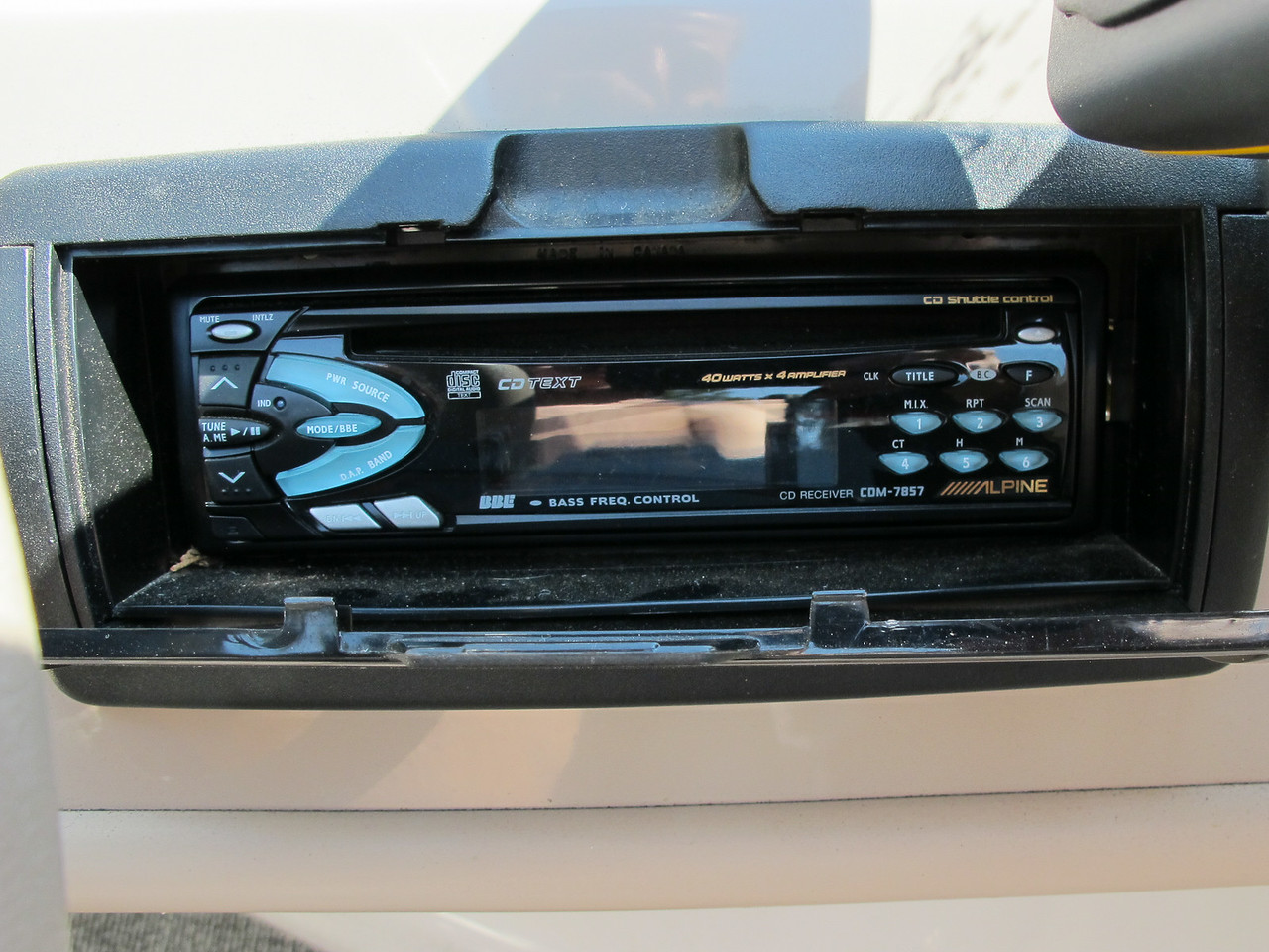 Close up of the stereo.
