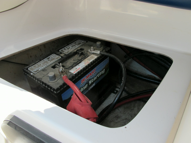 New battery in 2012, it lives on a tender while in storage during the winter.  The boat is also stored inside while not in use.