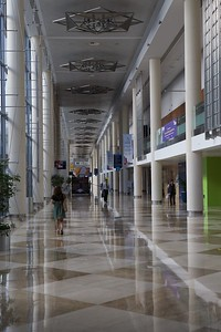 Inside of convention center lobby area